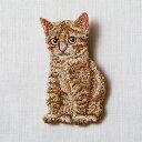 刺繍ブローチ P-TOUCH CUBE コラボ ねこ(高さ約7cm×幅約3.5cm)