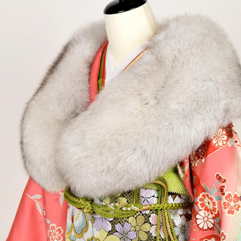 日本製 ブルーフォックス SAGA FURS 振袖用 ファーショール 着物 浴衣 着付け小物 和装 フェザーショール ファーショール 成人式 白 グレー