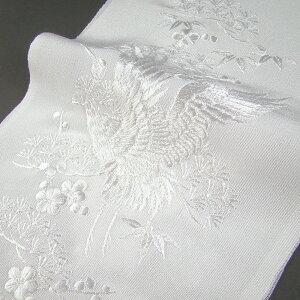 刺繍半衿 半襟 白/白 鶴に松竹梅 結婚式 成人式 フォーマル 留袖用 黒留袖 色留袖