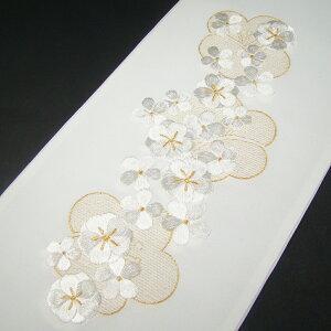 刺繍半衿 半襟 白/金 梅 結婚式 成人式 フォーマル 留袖用 黒留袖 色留袖 白 金