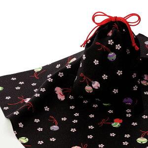 エコクロス-風呂敷 ふろしき ×巾着セット- 鈴と桜 エコバッグ 母の日 父の日 ギフト プレゼント クリスマス おしゃれ 可愛い 一升餅 名入れ可 黒