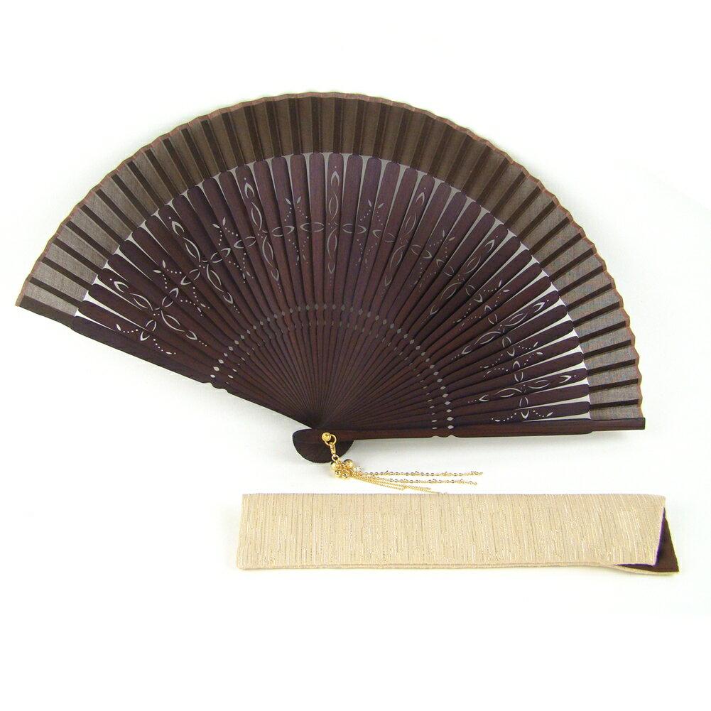 【メール便送料無料】扇子 女性用 シェリール(扇子袋付き)茶 母の日 ギフト レディース プレゼント 名入れ可