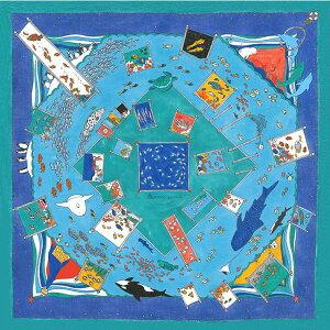 綿風呂敷 ふろしき 水族館 【MISATO ASAYAMA】二巾(75cm幅) エコバッグ 母の日 父の日 ギフト プレゼント クリスマス おしゃれ 可愛い 一升餅 70cm かわいい 名入れ可 ブルー