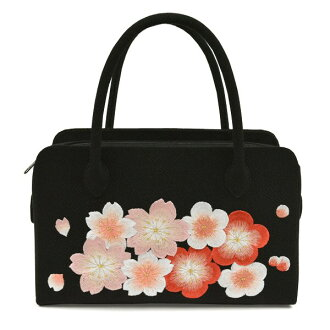 Coming-of-age ceremony for the pure silk fabrics bag crepe embroidery cherry tree black Rikyu bag long-sleeved kimono in Japanese dress