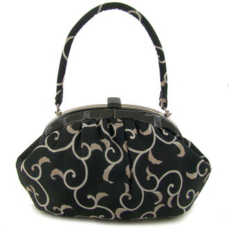 Pure silk fabrics pouch bag arabesque black black