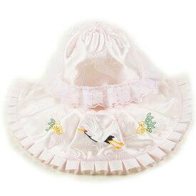 お宮参り よだれかけ 帽子 2点セット フードセット 初着 産着 日本製 ピンク