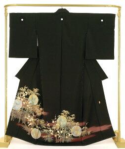 正絹 友禅黒留袖 月に松竹梅 結婚式 卒業式 フォーマル 和装 着物