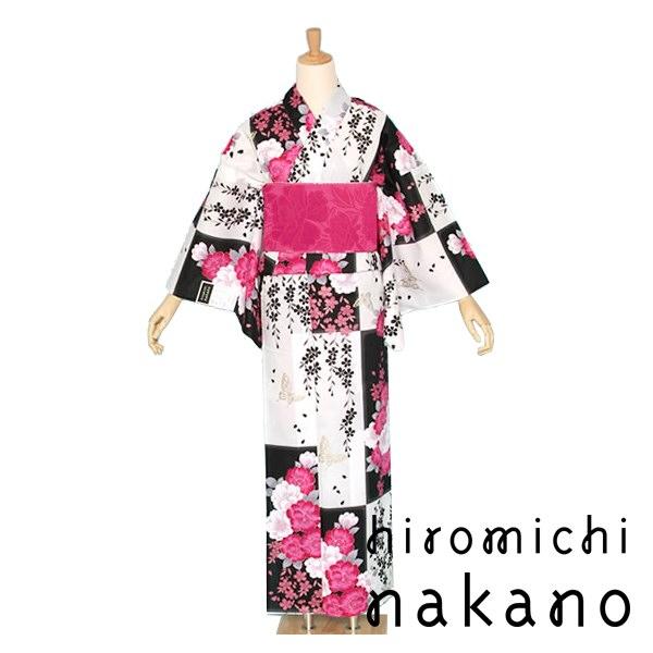 hiromichi nakano(ヒロミチナカノ) プレタ浴衣 市松に八重桜と蝶 白×黒【10N-5】