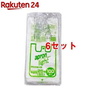 オルディ エプロンライト 無地手提げ袋 半透明 25号(SS) EL-N25-100(100枚入*6セット)