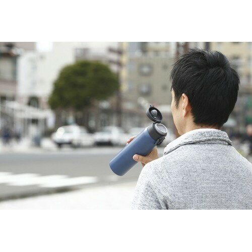 ステンレスケータイボトルワンタッチ600mlアッシュブルーSB-O600