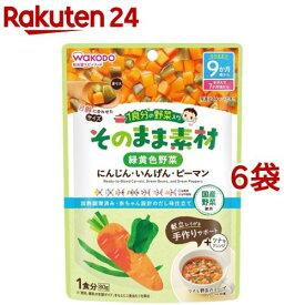 和光堂 1食分の野菜入り そのまま素材 緑黄色野菜 9か月頃〜(80g*6袋セット)【1食分の野菜入り そのまま素材】