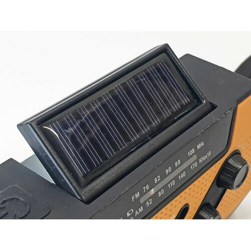 クマザキエイム手回し/ソーラー蓄電ラジオチャージオSL-090ブラックオレンジ