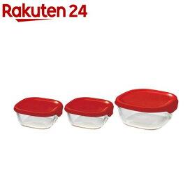 ハリオ 耐熱ガラス製保存容器 3個セット KST-2012-R(3コ入)【ハリオ(HARIO)】