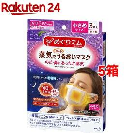 めぐりズム 蒸気でホットうるおいマスク ラベンダーミントの香り 小さめサイズ(3枚入*5箱セット)【めぐりズム】