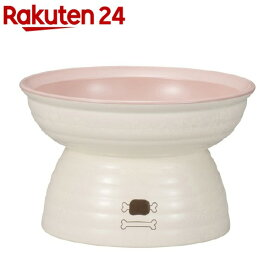 ペット食器 みやわん 脚付きフードボウル ホワイト*ピンク 235ml(1個)