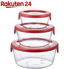 ハリオ 耐熱ガラス製 保存容器 丸 レッド SYTN-2518-R(3コ入)【ハリオ(HARIO)】