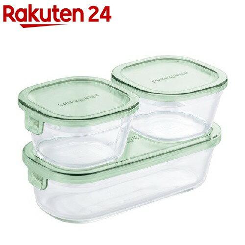 イワキ(iwaki)パック&レンジ角型3点セットPST-PRN3G2グリーン
