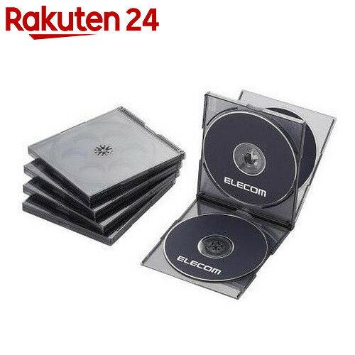 エレコム Blu-ray/DVD/CDケース(標準/PS/4枚収納) 5枚セット ブラック CCD-JSCNQ5CBK