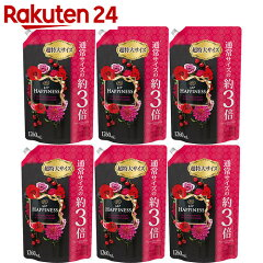 【ケース販売】レノアハピネスヴェルベットローズ&ブロッサムつめかえ用超特大サイズ1260ml×6個