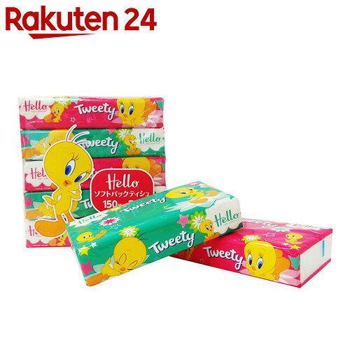 【ケース販売】ハロー トゥイーティー ソフトパックティシュ 150組×5個パック×18パック