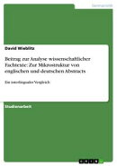 Beitrag zur Analyse wissenschaftlicher Fachtexte: Zur Mikrostruktur von englischen und deutschen Abstracts