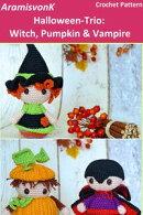 Halloween-Trio: Witch, Pumpkin & Vampire
