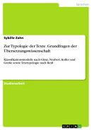 Zur Typologie der Texte. Grundfragen der Übersetzungswissenschaft