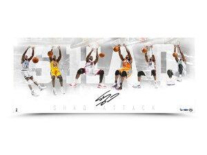"""""""シャキール・オニール シャック 直筆サイン入り 36×15インチ ¥""""SHAQ ATTACK¥"""" アート ポスター 【フレームなし】 NBA / SHAQUILLE O'NEAL AUTOGRAPHED """"SHAQ ATTACK"""" 36 X 15 PHOTO Los Angeles Lakers / Upper Deck NB"""