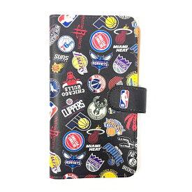 NBA ALL OVER ロゴ 手帳型スマホカバー(マルチ対応)iPhone X iPhone7 iPhone8 手帳型 ケース ブラック Xperia Galaxy Huawei ZenFone AQUOS などアンドロイド機種にも対応!