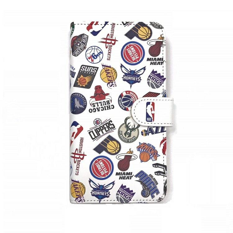 NBA ALL OVER ロゴ 手帳型スマホカバー(マルチ対応)iPhone X iPhone7 iPhone8 手帳型 ケース Xperia Galaxy Huawei ZenFone AQUOS などアンドロイド機種にも対応!