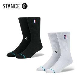 【2足以上購入で10%OFFクーポン】STANCE NBA ロゴマン クルー ソックス ホワイト ブラック NBAカジュアルコレクション / バスケットボール バッソク CREW II 靴下 部活