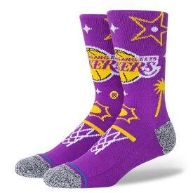 STANCE(スタンス) NBA LAKERS LANDMARK ソックス NBAカジュアルコレクション / Los Angeles Lakers ロサンゼルス・レイカーズ スポーツスタイル バスケットボール バッソク メンズ 靴下