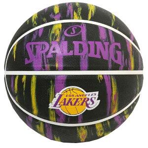 Spalding NBA公式 バスケットボール 7号球 ロサンゼルス・レイカーズ マーブル ブラック /ラバーボール 屋外用に最適 Los Angeles Lakers スポルディング