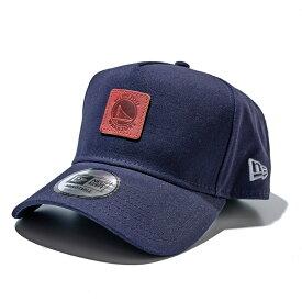 【予約販売】 NEW ERA x Rakuten別注 ゴールデン・ステート・ウォリアーズ 9Forty A-Frame レザーパッチ キャップ NBA ネイビー / Golden State Warriors ニューエラ メンズ レディース兼用 帽子