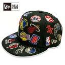 Rakuten Sportszone別注 New Era(ニューエラ) NBA ALL OVER LOGO 9FIFTY キャップ ブラック / NBA ファングッズ 帽…