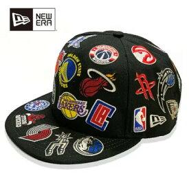 Rakuten Sportszone別注 New Era(ニューエラ) NBA ALL OVER LOGO 9FIFTY キャップ ブラック / NBA ファングッズ 帽子 送料無料