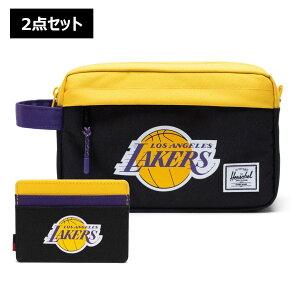 【2点セット】NBA Los Angeles Lakers カードケース&トラベルポーチ Herschel Supply(ハーシェルサプライ)Chapter Travel Kit & Charlie Wallet / ロサンゼルス・レイカーズ 財布