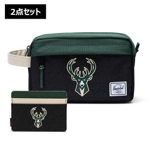 【2点セット】NBA Milwaukee Bucks カードケース&トラベルポーチ Herschel Supply(ハーシェルサプライ)Chapter Travel Kit & Charlie Wallet / ミルウォーキー・バックス 財布
