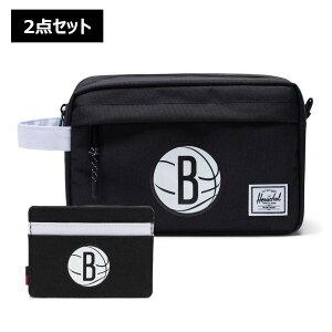【2点セット】NBA Brooklyn Nets カードケース&トラベルポーチ Herschel Supply(ハーシェルサプライ)Chapter Travel Kit & Charlie Wallet / ブルックリン・ネッツ 財布