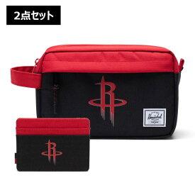 【2点セット】NBA Houston Rockets カードケース&トラベルポーチ Herschel Supply(ハーシェルサプライ)Chapter Travel Kit & Charlie Wallet / ヒューストン・ロケッツ 財布