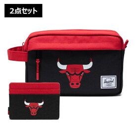 【2点セット】NBA Chicago Bulls カードケース&トラベルポーチ Herschel Supply(ハーシェルサプライ)Chapter Travel Kit & Charlie Wallet / シカゴ・ブルズ 財布