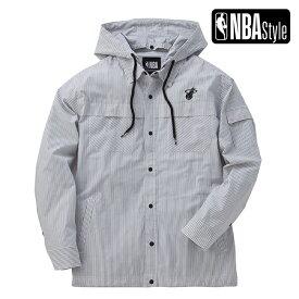 【NBA Style 2021】 Miami Heat リムーバブルフード シャツジャケット ユニセックス / マイアミ・ヒート