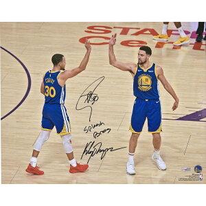 ステフィン・カリー クレイ・トンプソン 直筆サイン入り 16x20インチ フォトポスター NBA ゴールデンステート・ウォリアーズ 【フレームなし】 / Stephen Curry, Klay Thompson Golden State Warriors Autographe