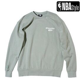 【予約販売】【NBA Style AW】Milwaukee Bucks ルーズフィット チームロゴ スウェット