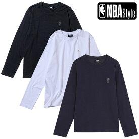 【NBA Style 2021 SS】 NBA ロゴマン ロングスリーブ Tシャツ / ホワイト ブラック ネイビー