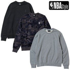 【NBA Style 2021 SS】 NBA スモールロゴ スウェットシャツ / ブラック カモ メランジグレー
