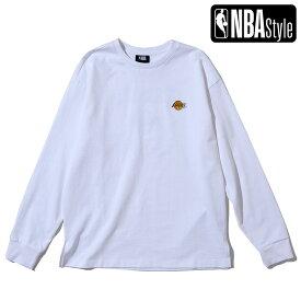 【NBA Style 2021 SS】 Los Angeles Lakers スモールロゴ ルーズフィットロングスリーブ Tシャツ / ロサンゼルス・レイカーズ