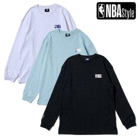 【最大650円OFFクーポン】【NBA Style 2021 SS】 NBAロゴ ルーズフィット ロングスリーブTシャツ / NBA PLAYコレクション / ホワイト ミント ブラック
