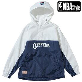 【NBA Style 2021 SS】 Hardwood Classics Los Angeles Clippers カラーブロックド ナイロンアノラックフーディー / ロサンゼルス・クリッパーズ