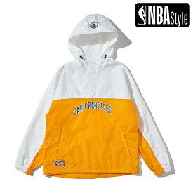 【NBA Style 2021 SS】 Hardwood Classics Golden State Warriors カラーブロックド ナイロンアノラックフーディー / ゴールデンステート・ウォリアーズ